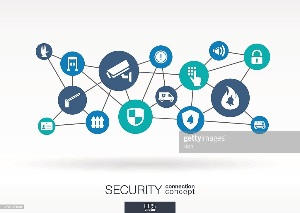 Security network with lines, circles, integrate flat icons. Vector illustration