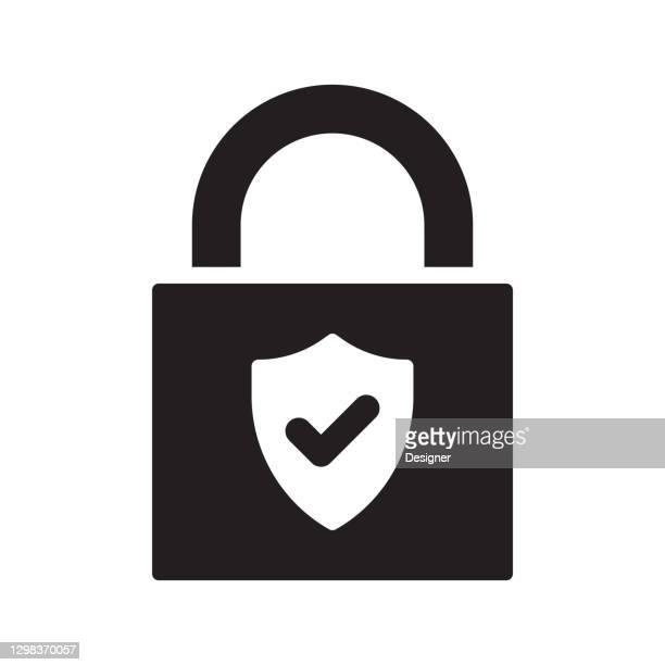 security padlock icon, vector symbol illustration. - verification stock illustrations