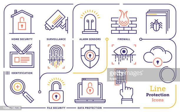 security & protection systems vector line icon set - identity theft stock illustrations