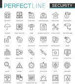 Security protection thin line web icons set. Data, web, personal and home security outline stroke icons design.