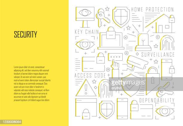 security related line design style web banner vector illustration - security code stock illustrations
