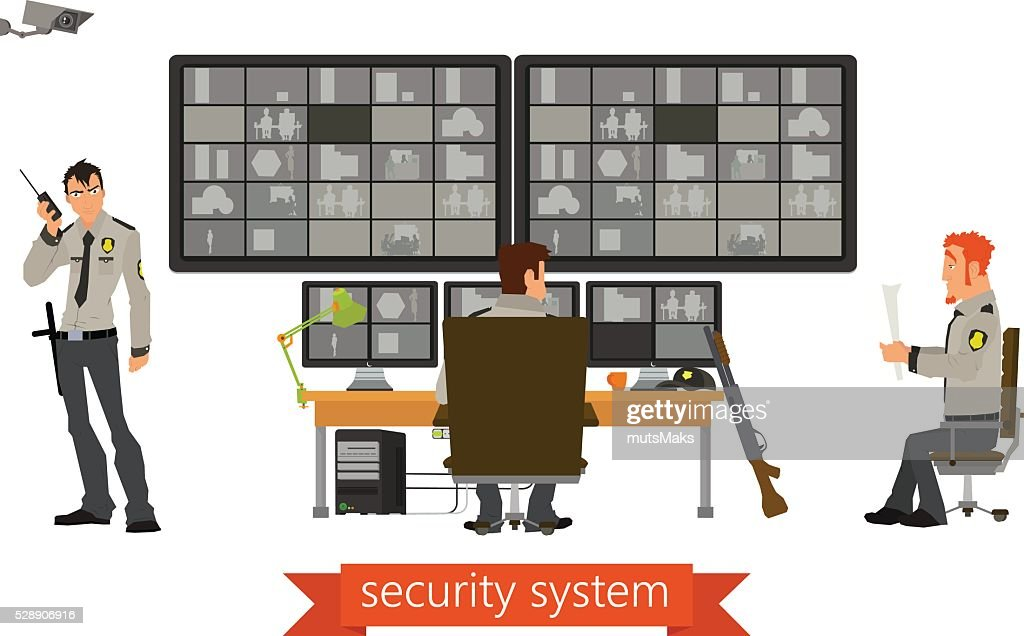 security room in which working professionals. surveillance cameras.