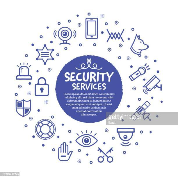 security services poster - security camera stock illustrations