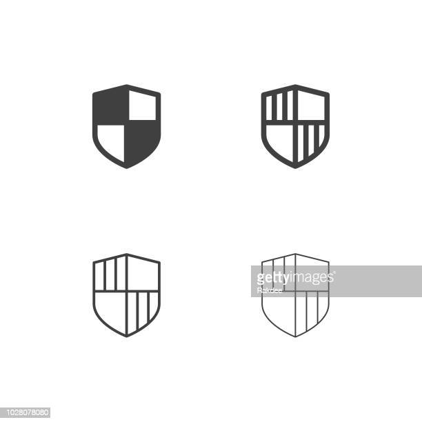security shield icons - multi series - bloco stock illustrations