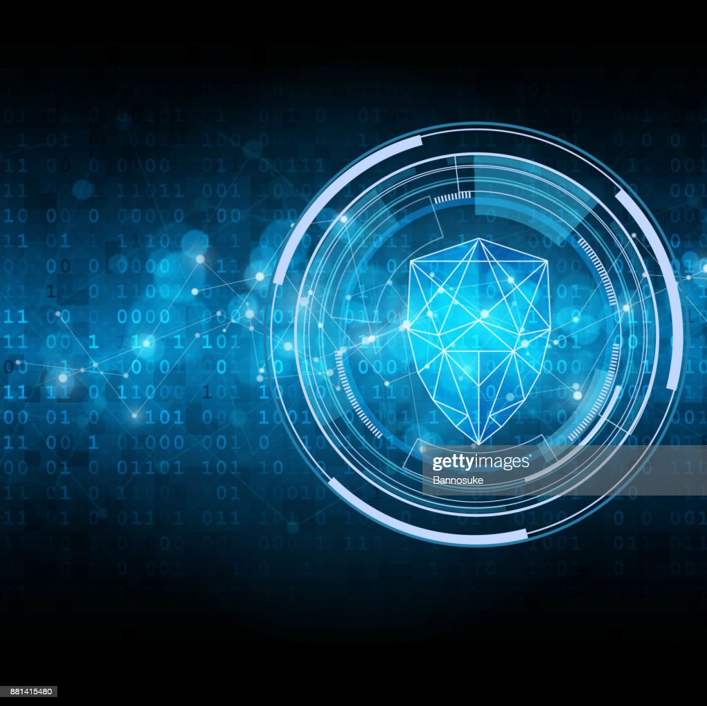 Security shield on matrix style binary background