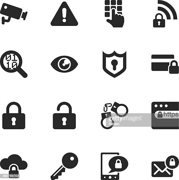 security silhouette icons - security camera stock illustrations