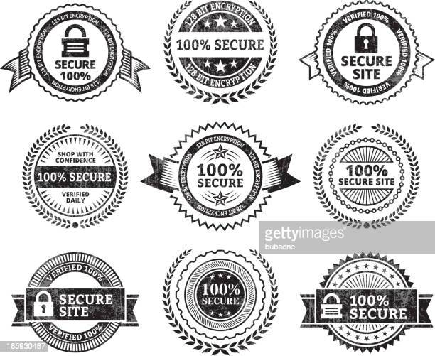 security site black & white royalty free vector icon set - permission concept stock illustrations