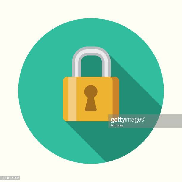 Security Social Media Flat Design Icon with Side Shadow
