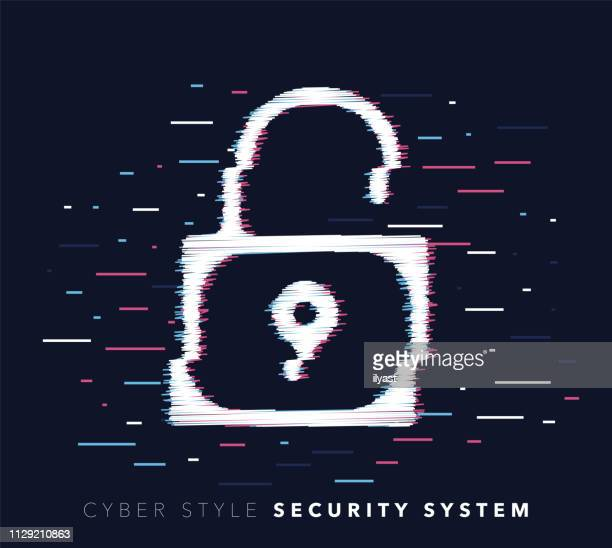 security system glitch effect vector icon illustration - problems stock illustrations