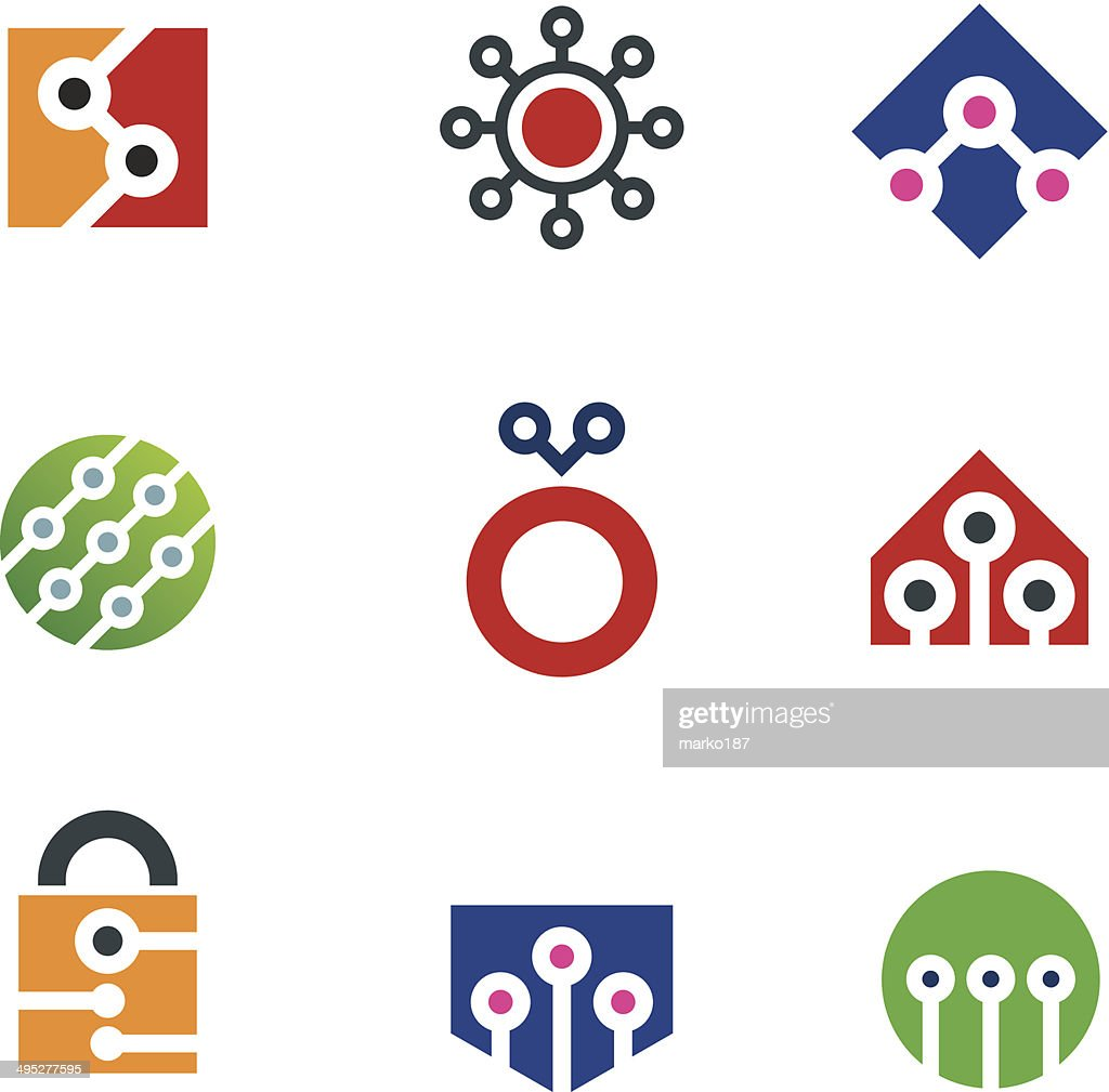 Security system home and internet virtual hack shield logo icon