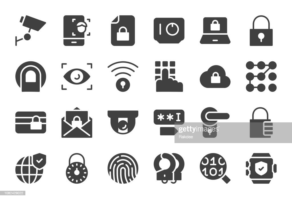 Security System Icons - Gray Series : Stock Illustration