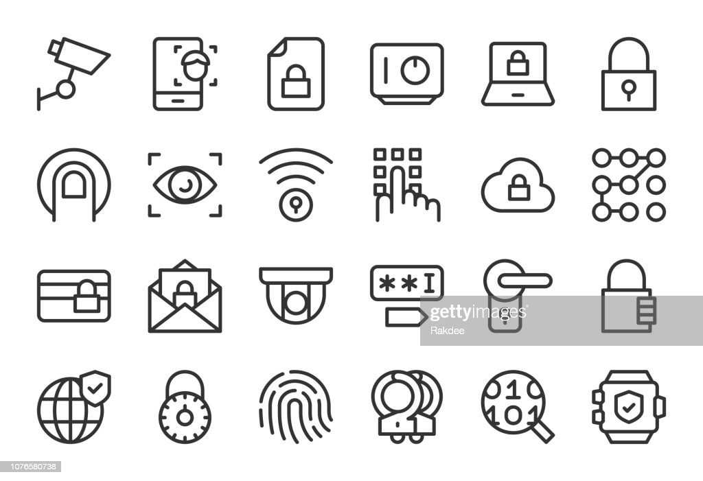 Security System Icons - Light Line Series : stock illustration