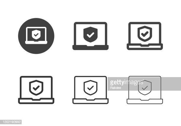 security system icons - multi series - security code stock illustrations