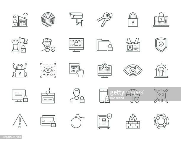 security thin line series icon set - eye scanner stock illustrations
