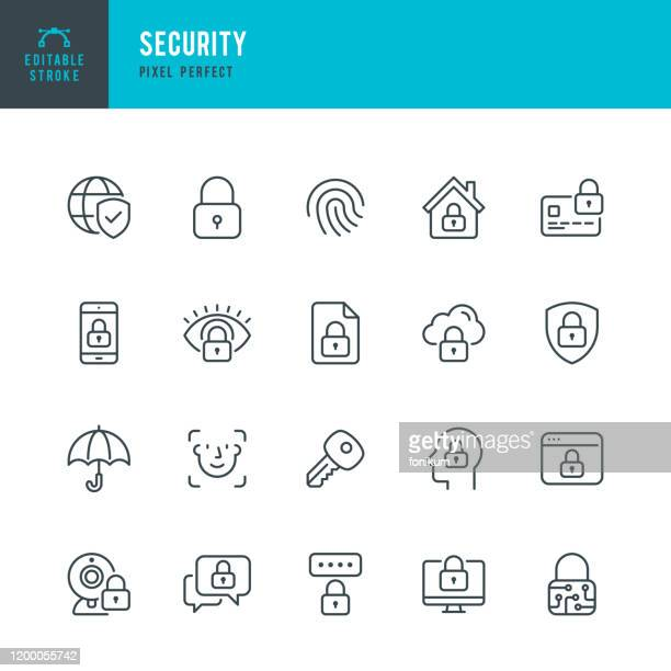 illustrazioni stock, clip art, cartoni animati e icone di tendenza di security - thin line vector icon set. pixel perfect. editable stroke. the set contains icons security, fingerprint, face identification, key, message protect. - sicurezza