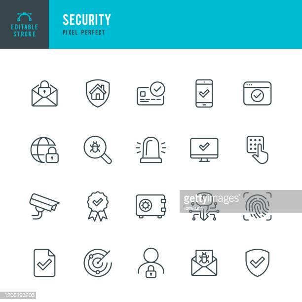 セキュリティ - 細線ベクトルアイコンセット。ピクセルパーフェクト。編集可能なストローク。セットには、セキュリティ、指紋、デジタルキー、アラーム、スパム、セキュリティカメラ、� - 迷惑メール点のイラスト素材/クリップアート素材/マンガ素材/アイコン素材