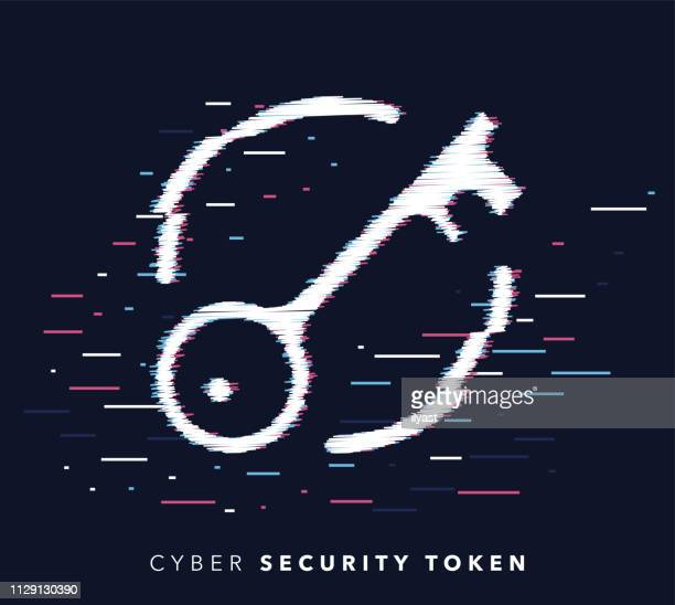 Security Token Glitch Effect Icon Illustration