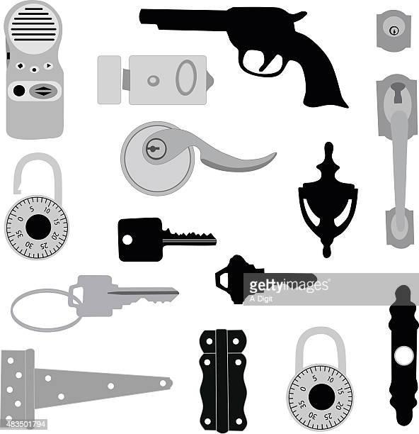 illustrations, cliparts, dessins animés et icônes de de sécurité - marteaudeporte
