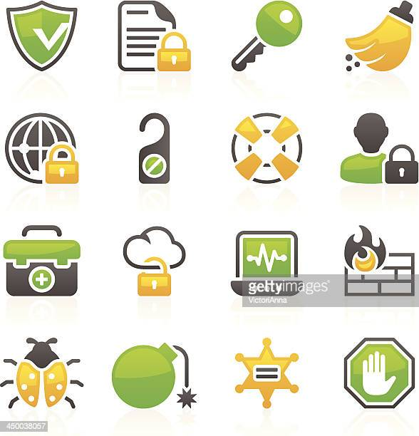security_flory series_10 - safety equipment stock illustrations, clip art, cartoons, & icons