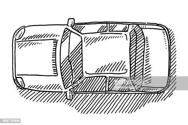 Sedan Car View From Above Drawing