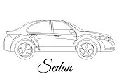 Sedan, saloon car body type outline