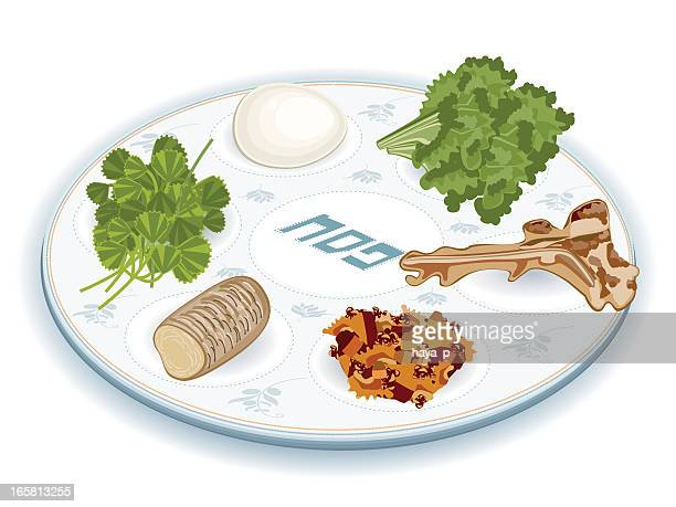 seder plate with traditional food - passover stock illustrations