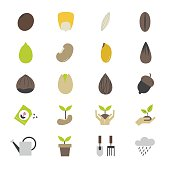 Seeds and Gardening Flat Color Icons