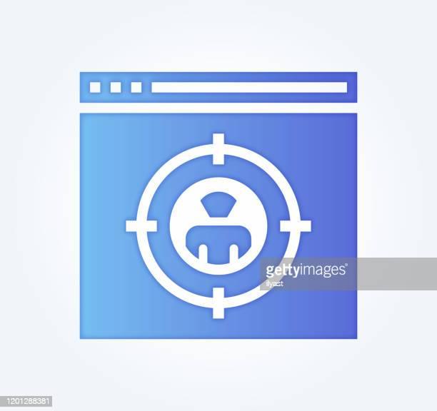 ilustrações de stock, clip art, desenhos animados e ícones de segmentation & targeting gradient fill color & paper-cut style icon design - nicho