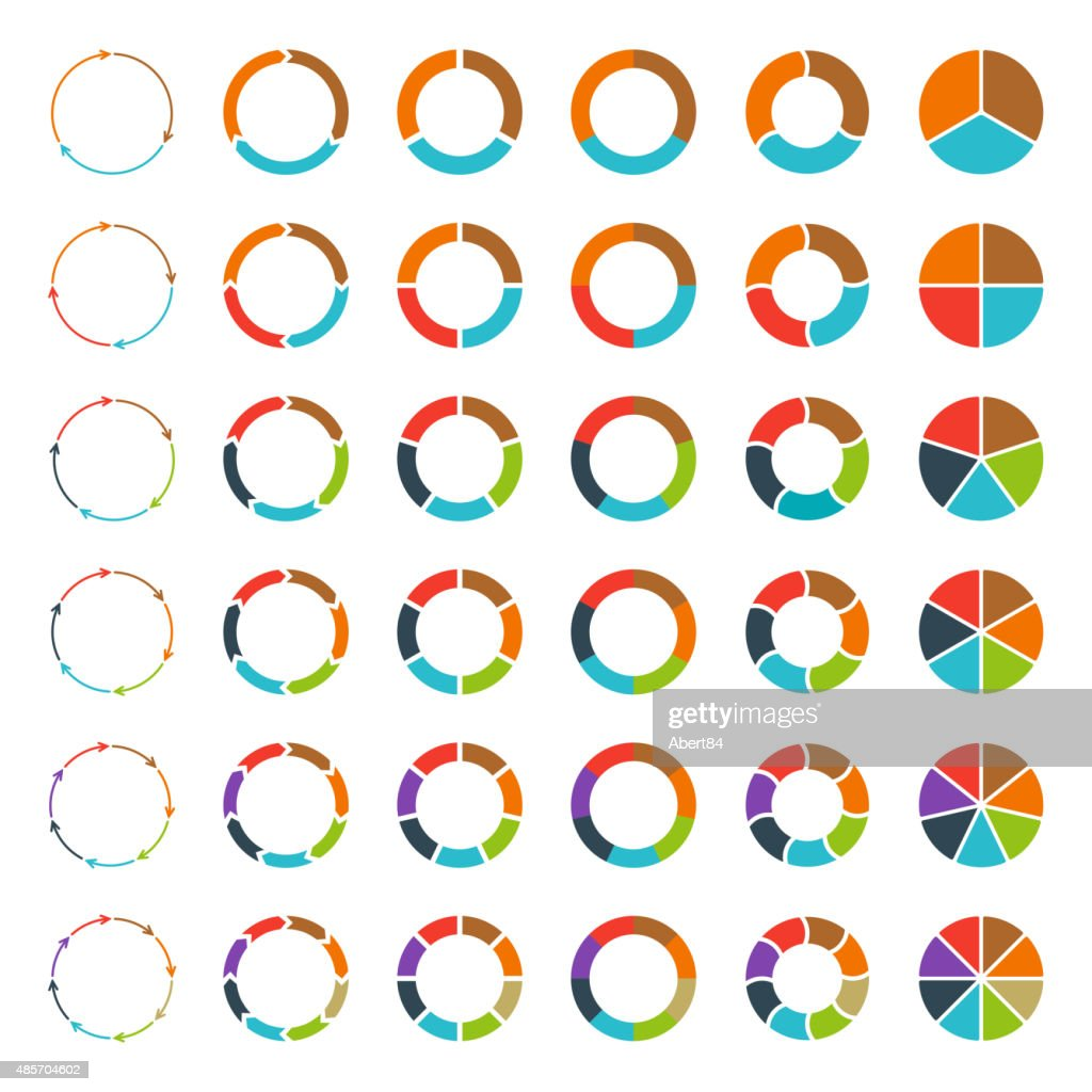 Segmented pie charts and arrows set.