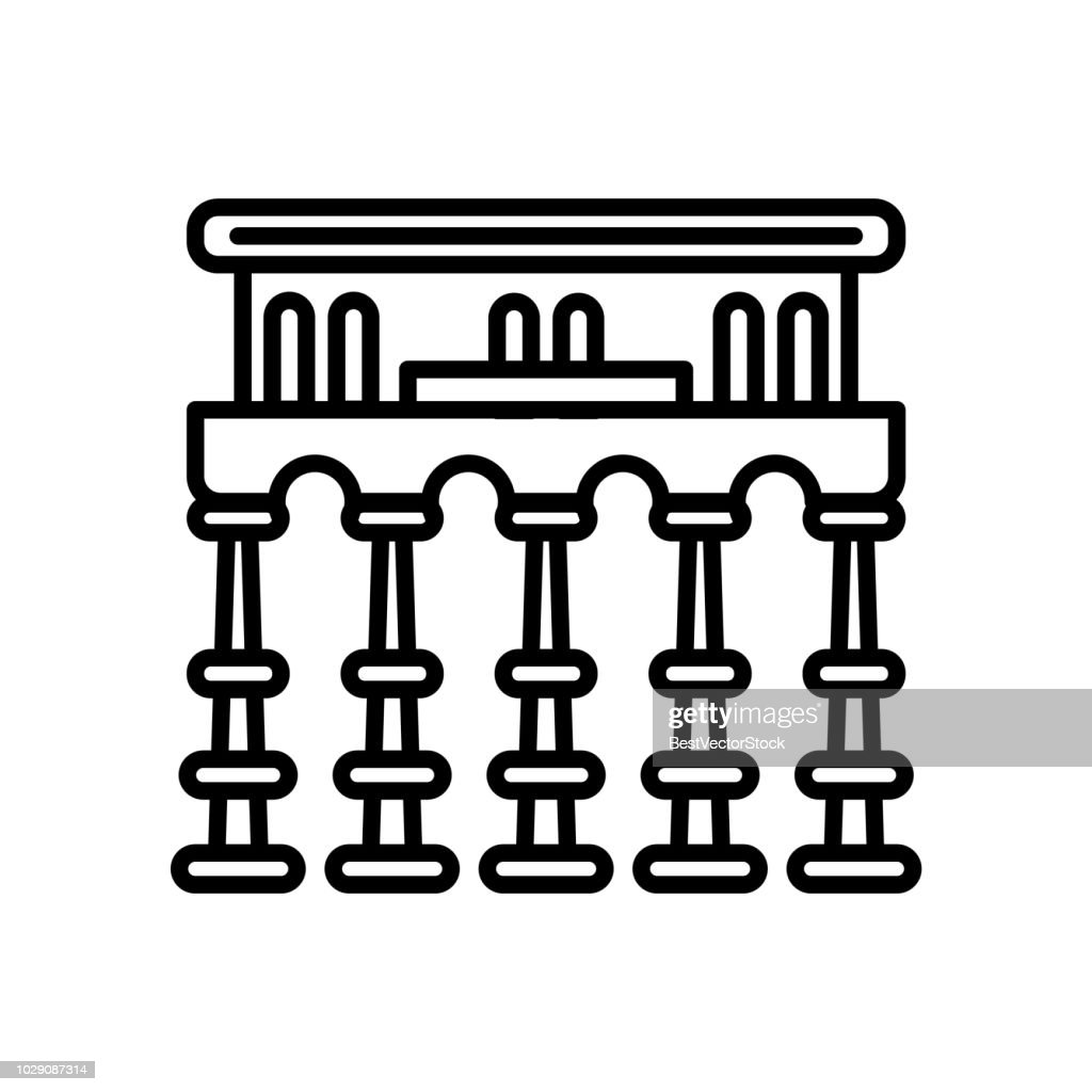 Segovia aqueduct icon vector isolated on white background, Segovia aqueduct sign , line or linear sign, element design in outline style