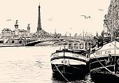 seine river in Paris with barges and eiffel tower