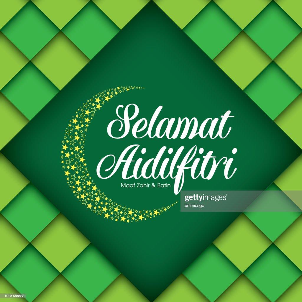 Selamat Hari Raya Aidilfitri vector illustration. Caption: Fasting Day of Celebration