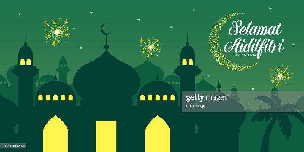 Selamat Hari Raya Aidilfitri vector illustration with traditional malay mosque. Caption: Fasting Day of Celebration