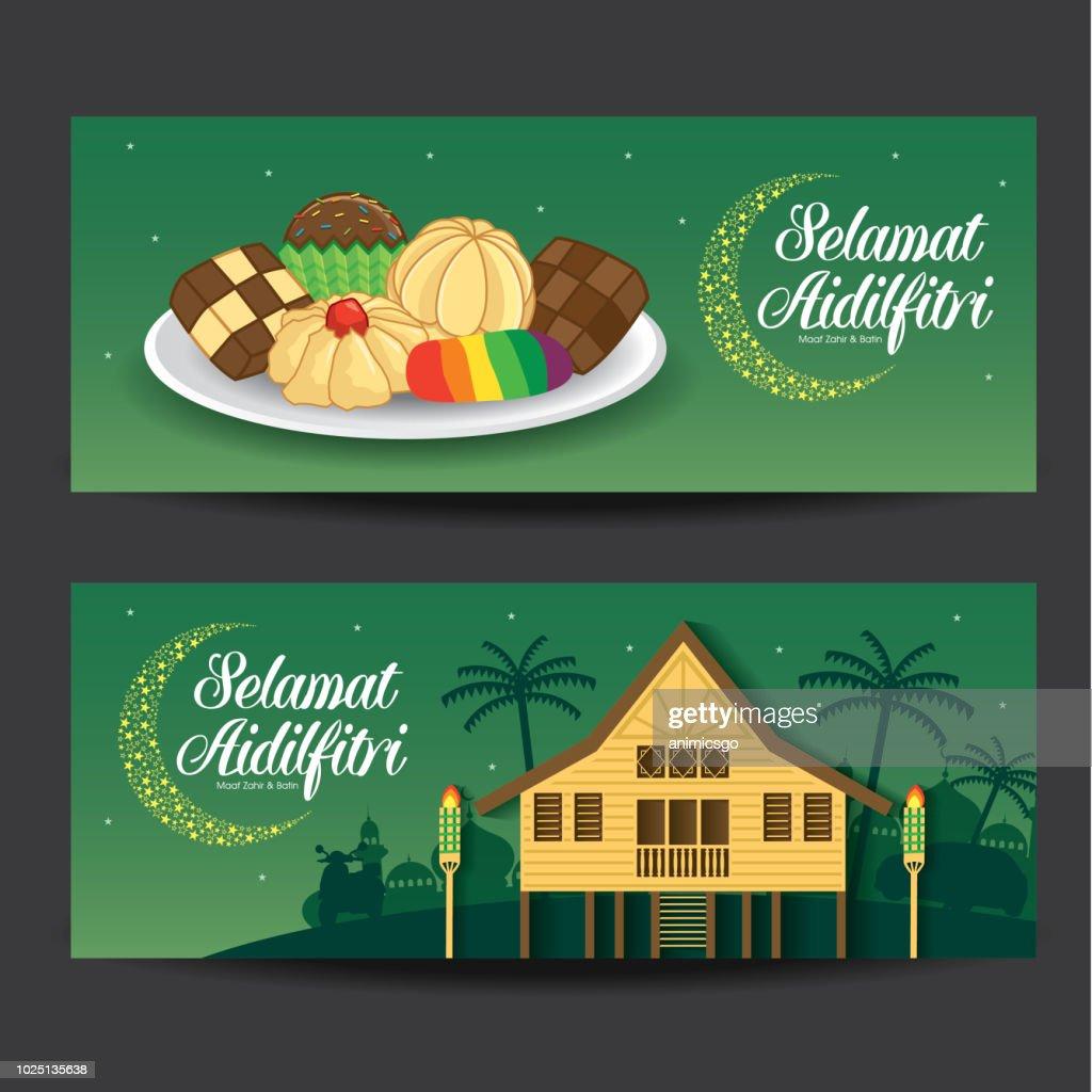 Selamat Hari Raya Aidilfitri vector illustration with traditional malay village house / Kampung & kuih raya. Caption: Fasting Day of Celebration