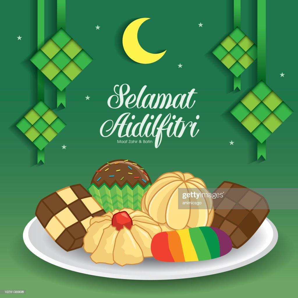 Selamat Hari Raya Aidilfitri vector illustration with traditional malay kuih raya & ketupat. Caption: Fasting Day of Celebration