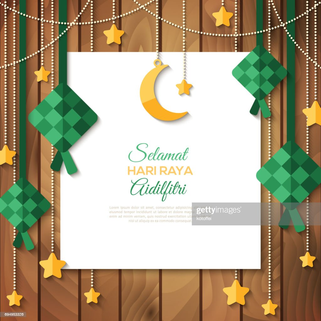 Selamat Hari Raya greeting card on wood