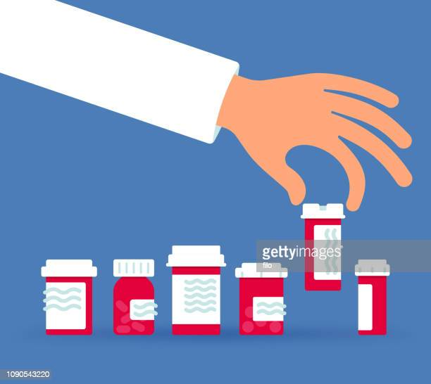 selecting a prescription drug - choice stock illustrations