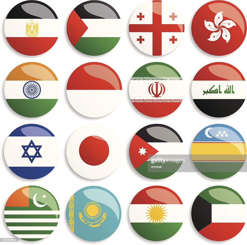 Selection of 16 colorful Asia and middle east flag buttons