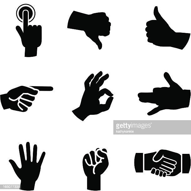 A selection of 9 illustrated hand icons on white background