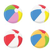 A selection of beach balls in multiple colors isolated on white background. Vector illustration.