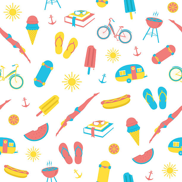 a selection of colorful summer icons - skateboarding stock illustrations