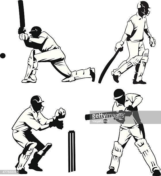 selection of cricket players - cricket player stock illustrations