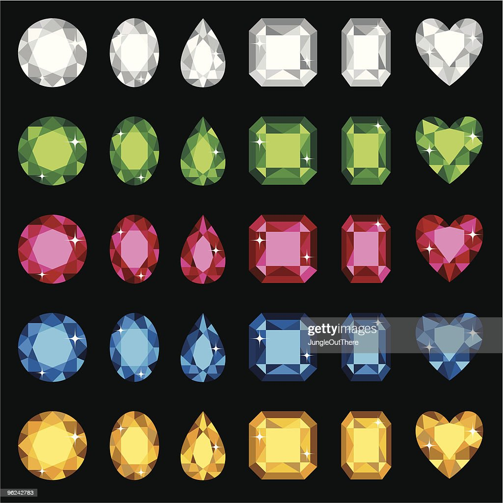 Selection of different colored and shaped gemstones