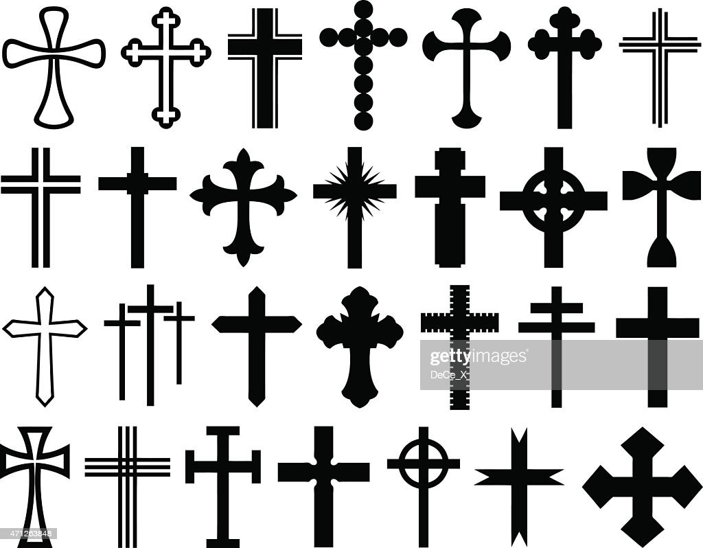 A selection of different size and shape crosses