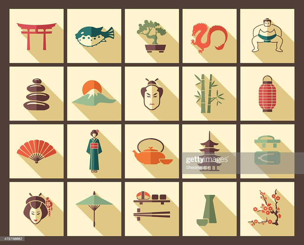 A selection of Japanese icons in a grid