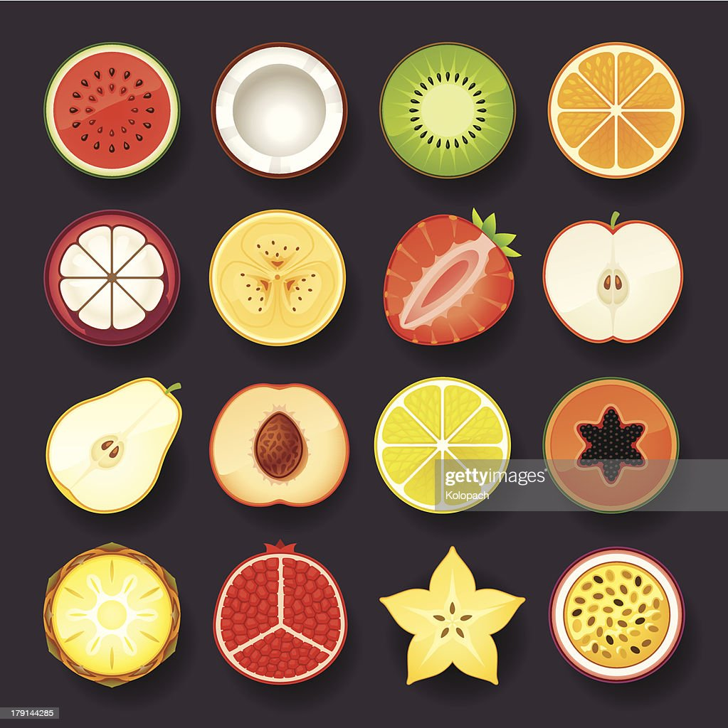 Selection of sixteen fruit intersection icons
