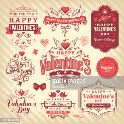 A Selection Of Valentines Day Labels Vector Art | Getty Images