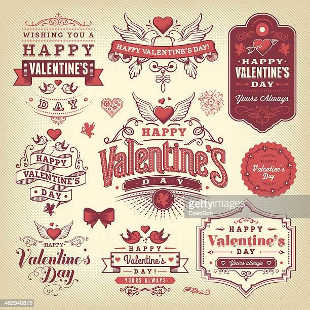 Valentinstag-Label-Set