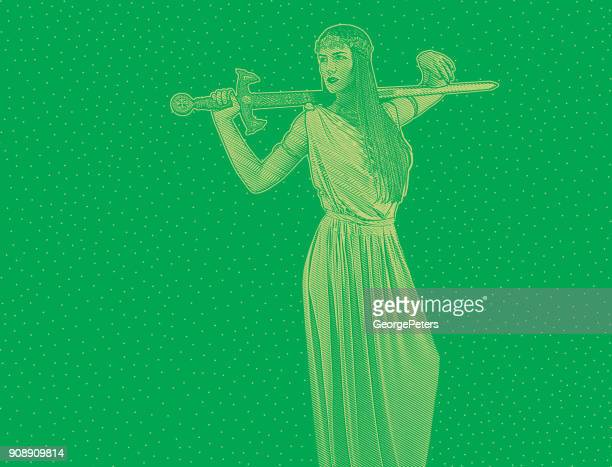 self confident feminist holding sword and wearing grecian-style dress - me too social movement stock illustrations, clip art, cartoons, & icons