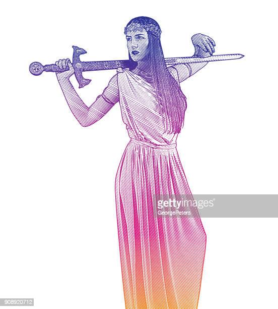 self confident feminist holding sword and wearing grecian-style dress - goddess stock illustrations, clip art, cartoons, & icons